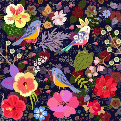 Luxury Seamless Pattern With Cute Cartoon Birds And Bright Flowers