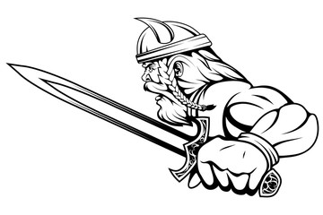 viking warrior with a sword in his hand, suitable as logo or team mascot, vector graphic to design