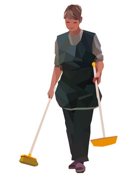 The cleaning lady in uniform becomes inventory, portrait isolated on white background. Vector illustration in low-poly