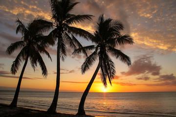 Sunset over Ouvea lagoon on Ouvea Island, Loyalty Islands, New Caledonia