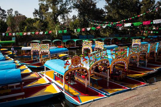 Colorful Boats on Embarcadero of Xochimilco in Mexico City