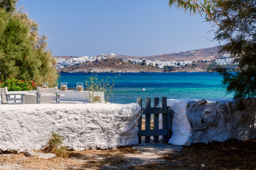 Picturesque view to Naussa from Kolymbithres beach. Paros island, Greece