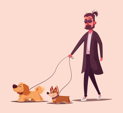 Man is walking with a dog. Cartoon vector illustration. Dog walker