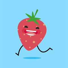 strawberry (Fragaria) with cute face. Illustration funny and healthy food cartoon. Blue background