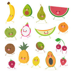 Cartoon fruits cute characters face on isolated background. Vector collection . Emoticon emoji. Funny food concept.