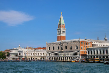 View of Piazza San Marco with Campanile, Palazzo Ducale and Biblioteca in Venice, Italy