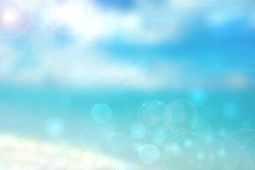 Abstract beach background. Abstract bright tropical sand beach with sun and blue cloudy sky and waves on ocean. Backdrop for summer holidays and travel advertising.