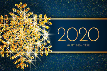 2020 Happy New Year greeting card. Gold snowflake and glitter on Dark blue background. 2020 Happy New Year text.