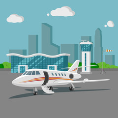 Airport vector illustration. Flat design cityscape.