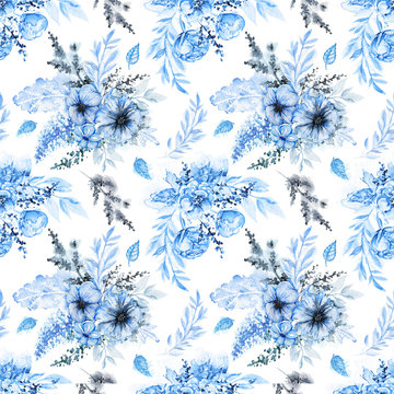 Floral seamless pattern with blue flowers, twigs and leaves on white background. Watercolor hand drawn illustration