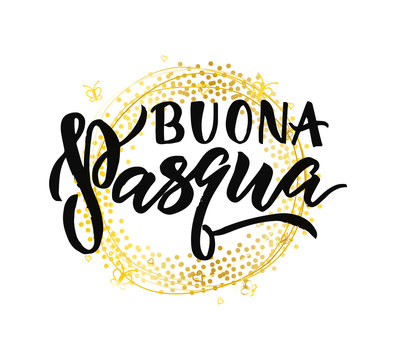 Hand lettering Happy Easter italian language banner template with beautiful easter golden wreath. Vector illustration.