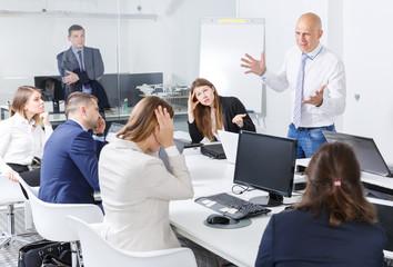 boss scolding associate