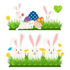 Cartoon character easter bunnies and eggs vector design. Illustration of easter rabbit, holiday tradition