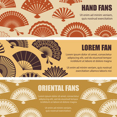 Hand oriental fans silhouettes vector banners template. Illustration of fan oriental silhouette, pattern background