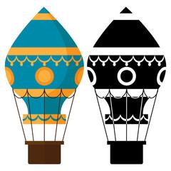 Black and white, colorful earostats. Hot air balloons vector illustration. Air balloon, hot airship with basket