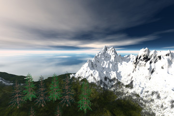 Mountain, a snowy landscape, coniferous trees, beautiful view of the lake and a cloudy sky.