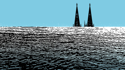 Illustration of rising sea level as a result of global warming. Pop art illustration in blue and white with an ocean and the cologne cathedral.