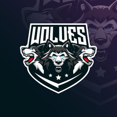 wolf vector mascot logo design with modern illustration concept style for badge, emblem and tshirt printing. angry wolf illustration for sport and esport team.