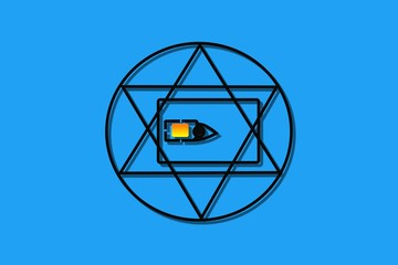 sim card all seeing eye in circle of eternity symbol observing all people