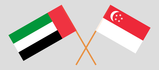 Singapore and United Arab Emirates. The Singaporean and UAE flags. Official colors. Correct proportion. Vector