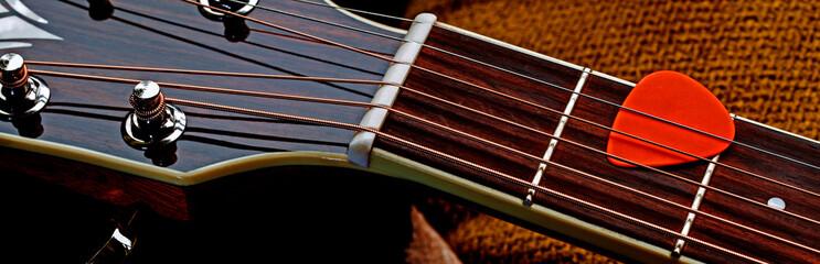 Acoustic guitar panorama - natural design & materials, for guitar music.