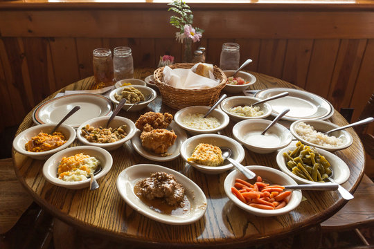 Table full of food, country southern dishes