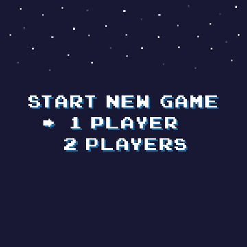 Pixel art start new game background with stars 8-bit - isolated vector illustration