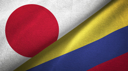 Japan and Colombia two flags textile cloth, fabric texture