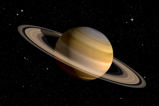 Realistic 3d rendering of Saturn planet with With its rings. Space illustration. Some elements furnished by NASA.