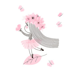 Cute little fairy girl with long hair standing on tree leaf and playing with butterfly. Vector doodle illustration in pink colour for girlish designs like textile apparel print, wall art, poster