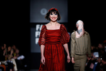 British model Daisy Lowe presents a creation during the 'Oxfam Fashion Fighting Poverty' catwalk at London Fashion Week Women's A/W19 in London