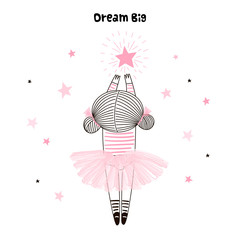 Cute little girl in pink ballerina skirt reaching for her star. Dream big lettering. Vector doodle illustration in pink colour for girlish designs like textile apparel print, wall art, poster