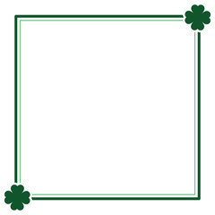 Green seamless pattern with clovers, shamrock leaves for St. Patrick's Day. Holiday symbol with frame, border for text, for greeting cards, banner or invitation