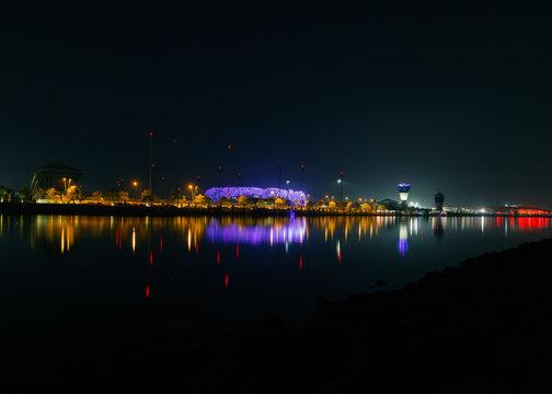 Yas marina in yas island at night