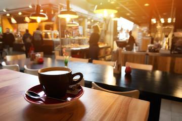 Fototapeta Cappuccino in cafe obraz