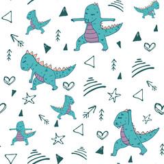Handdrawn dinosaur in yoga asana seamless pattern