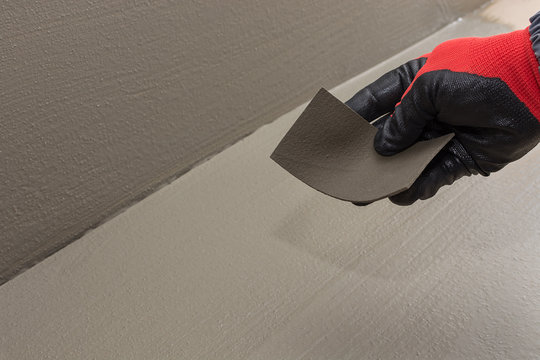 a sample of waterproofing material on a cement basis and its elasticity, high quality material