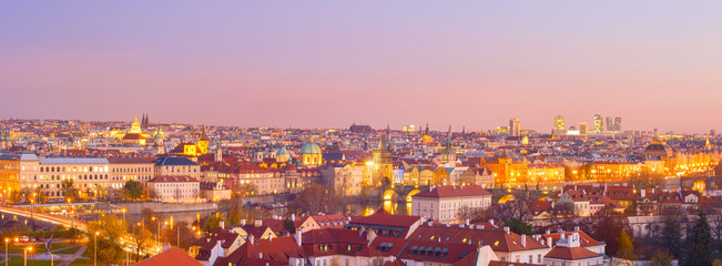 Fototapete - Panorama  Prague twilight Czech cityscape