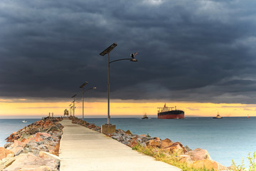 Coal Ship heading into port