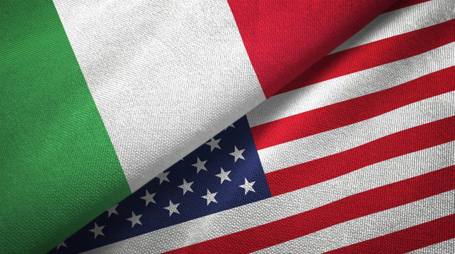 Italy and United States two flags textile cloth, fabric texture