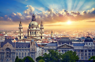 Foto op Canvas Boedapest Urban landscape panorama with sunset and old buildings and domes of opera buildings in Budapest, Hungary.