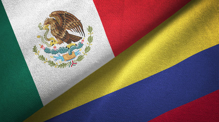 Mexico and Colombia two flags textile cloth, fabric texture