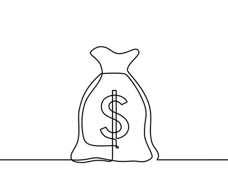 Continuous one line drawing of isolated vector object, dollar sign - Vector