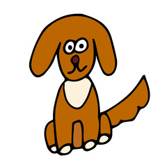 Cartoon doodle linear dog isolated on white background. Vector illustration.