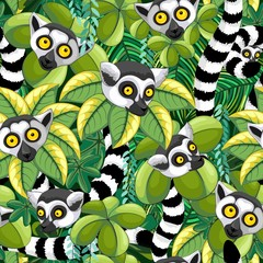 Photo Blinds Draw Lemurs of Madagascar in Exotic Jungle Seamless Pattern Vector Textile Design