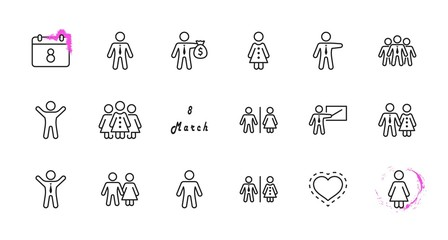 Set of people vector line icons. It contains the symbols of a man, a woman, a family, a toilet, a businessman, a teacher, and much more. Editable Stroke. 32x32 pixels.