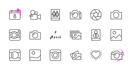 Set of Cameras and photo, vector line icons. Contains symbols of portraits and family photos and much more. Editable Stroke. 32x32 pixels