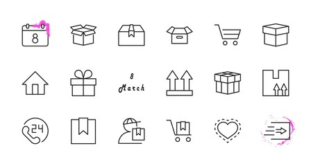 Set of Shipping vector line icon. It contains symbols to box, home and more. Editable Stroke. 32x32 pixels.