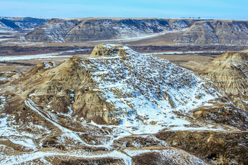 Late spring and there is still snow on the ground in Horsetheif Canyon, Drumheller, Alberta, Canada