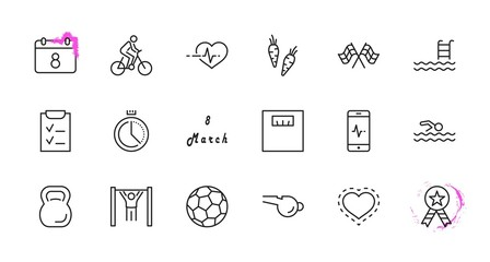 Set of Fitness Vector Line Icons. Contains such Icons as Cycling, Kettlebell Sport, Soccer Ball, Heartbeat, Workout, Stopwatch, Timer, Diet Plan, Sport Nutrition and more. Editable Stroke. 32x32 Pixel